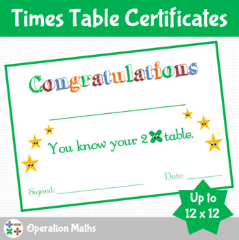 Times Table Certificates