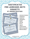 Certificates for Language Arts Subjects