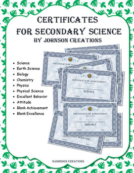 Certificates for Secondary Science