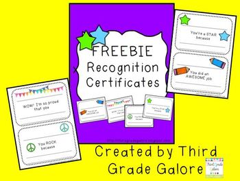certificates for special recognition by third grade galore tpt