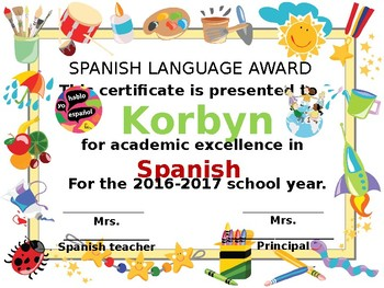 Certificates for the Spanish class 2