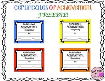Certificates of Achievement FREEBIE