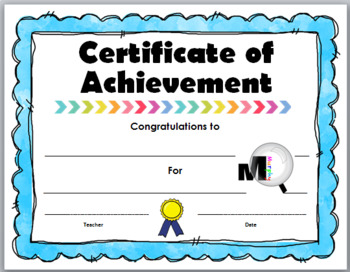 End of Year Award - Certificate of Achievement - Set 2