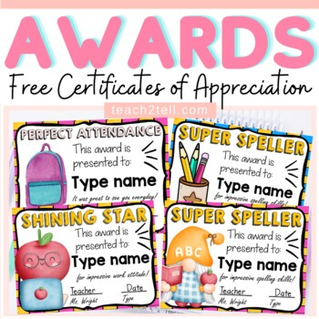 editable awards certificates of appreciation by teach to tell tpt
