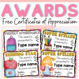 EDITABLE AWARDS: CERTIFICATES OF APPRECIATION