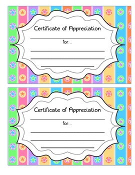 Certificates of Appreciations: Colored, Polka Dot, Striped, Black and White