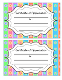 Certificates of Appreciations: Colored, Polka Dot, Striped