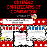 Certificates of Completion or Graduation - Editable