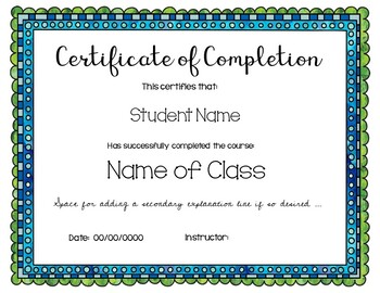 Certificates of Completion- Ready to Edit