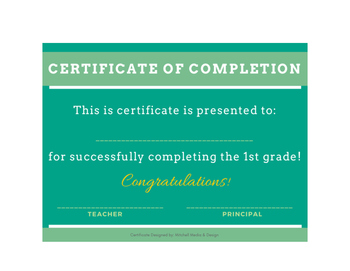 Certificates of Completion - for grades K-12