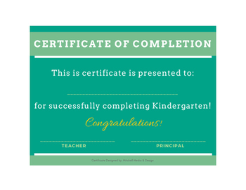 Certificates of Completion - for grades K-12