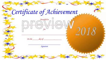 Certificates of Graduation and Achievement for *2018*
