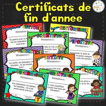 Certificats de fin d'année - French awards