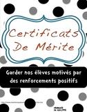 Certificats de mérite