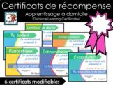 Certificats de récompense modifiables - (Bon pour l'appren