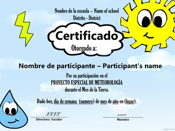 Certifificate for weather report- Certificado de meteorología