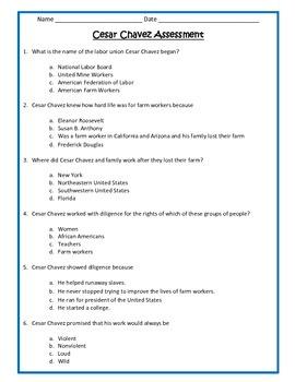 Cesar Chavez ASSESSMENT- 3rd Grade Social Studies