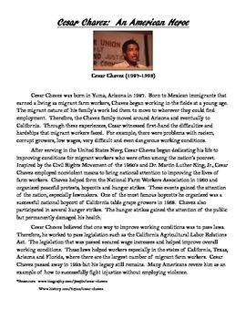 Cesar Chavez:  An American Hero Activity