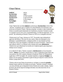 César Chávez Biografía - Spanish Biography + Worksheet and Video Link