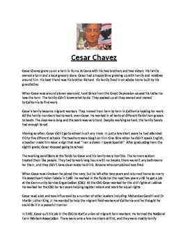 Cesar Chavez Biography Article and Assignment Worksheet