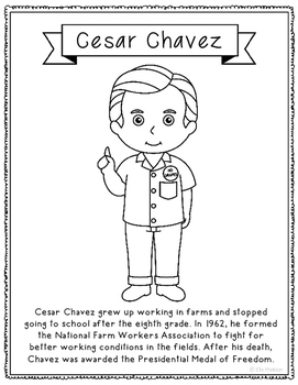 Cesar Chavez Biography Coloring Page Activity or Poster, H