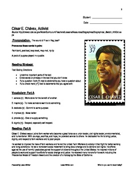 Cesar Chavez Biography: Literacy Lesson (Student Materials and ...