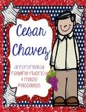 Cesar Chavez Differentiated Reading FLUENCY Passages & MAZES