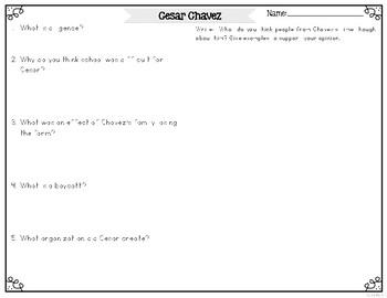 Cesar Chavez Differentiated Reading Passages