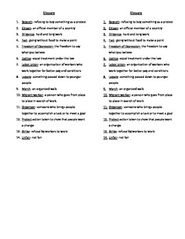 Cesar Chavez Glossary for Interactive Notebook or Flipbook