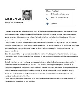 Cesar Chavez Lesson- Reading and Worksheet