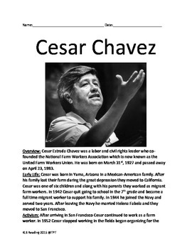Cesar Chavez - Lesson Review Article - full history questions vocabulary facts