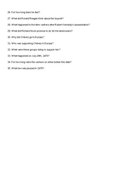 Cesar Chavez Movie Questions and Answer Key