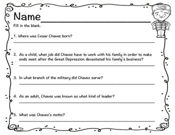 Cesar Chavez Reader, Comprehension Questions, Foldable and STEM Pop-Up Card!