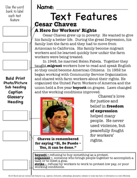 Famous American Hero: Cesar Chavez SS & Literacy Unit - Interactive Notebook