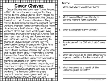Cesar Chavez Game and Reading Passage