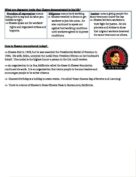 Cesar Chavez Test and Study Guide COMBO!