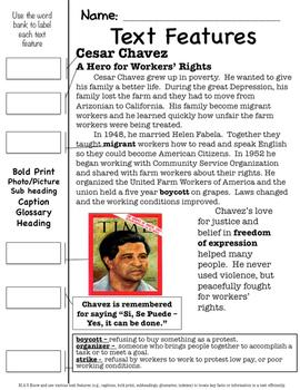 Cesar Chavez Text Features Page