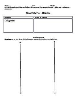 Cesar Chavez Timeline worksheet