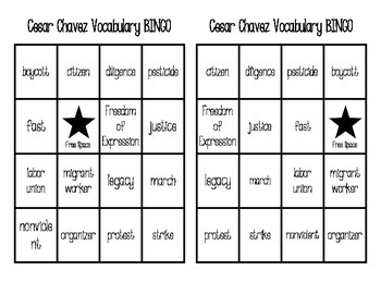 Cesar Chavez Vocabulary BINGO