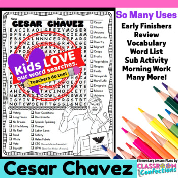 Cesar Chavez: Word Search Activity