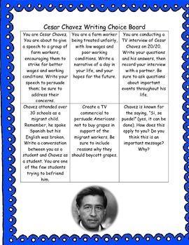 Cesar Chavez Writing Choice Board