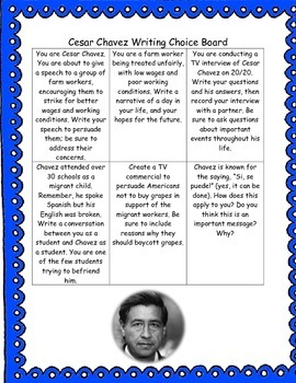 Cesar Chavez Writing Choice Board