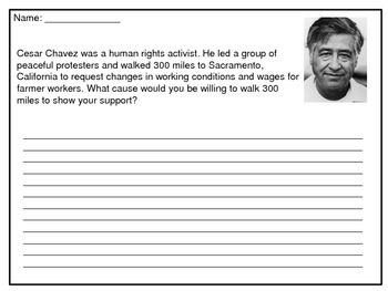 Cesar chavez writing prompt by from room 123 teachers pay teachers
