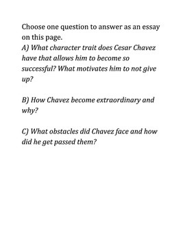 Cesar Chavez film 2014 Questions and Essay Response