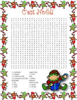 C Est No 235 L French Christmas Word Search By Miss Amy