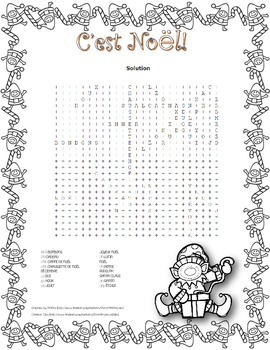 C'est Noël! ~ French Christmas Word Search