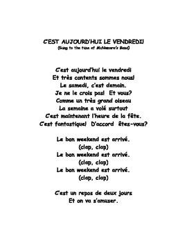 C'est aujourd'hui le vendredi French song