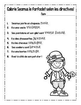 {C'est la Saint Patrick!} Language activities for 1e-3e French immersion or Core