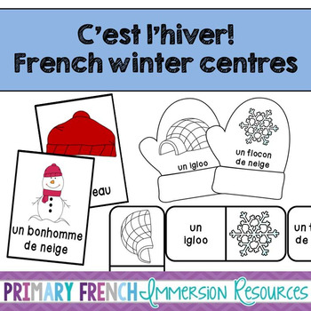 French winter centres - flashcards, bug in a rug, and domino games