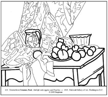 Cezanne. Apples & Peaches. Coloring page and lesson plan ideas